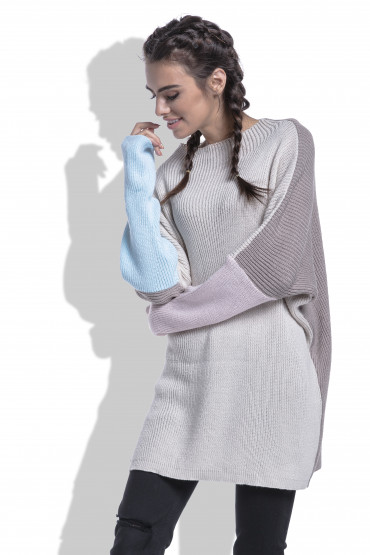Czterokolorowy sweter F428
