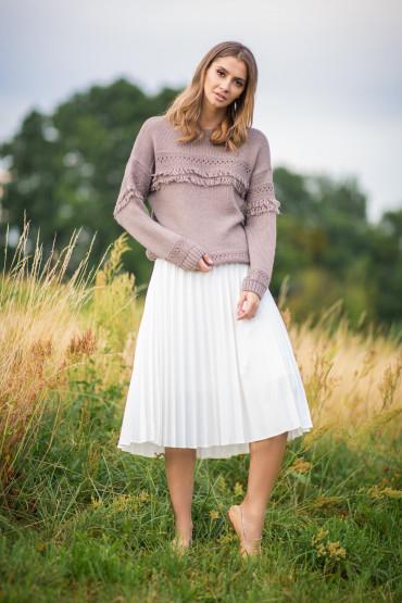 Sweter z frędzlami F745