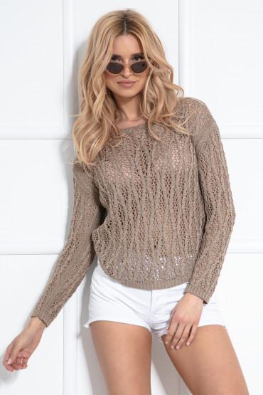 Delikatny ażurowy sweter F1036