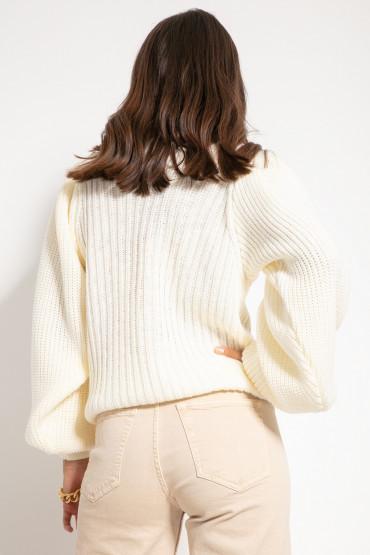 Sweter z bufiastymi rękawami F1061