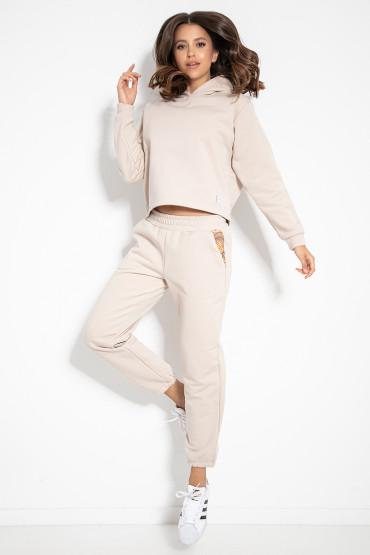 Bluza z kapturem i spodnie z nadrukami F1076