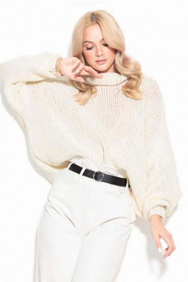 Wełniany sweter oversize F1128