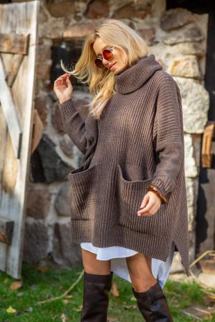 Sweter oversize z kieszeniami F1104